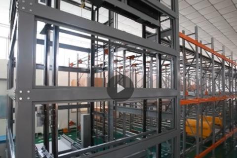冷库专用自动化穿梭车货架系统视频