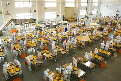 工人们正在筛选黄桃