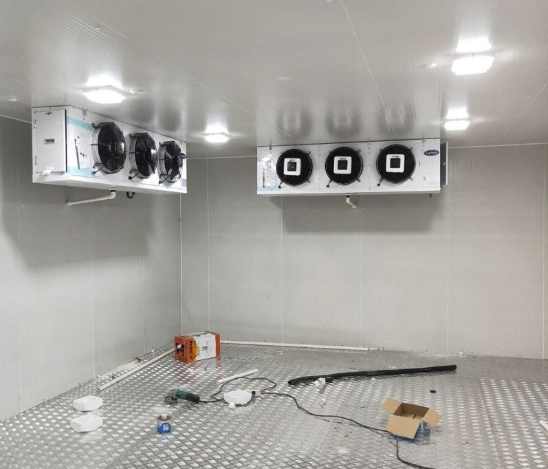 图为医药冷库配备的一用一备两套冷风机组